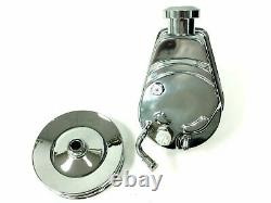 Power Steering Pump With Double Groove Pulley, Chrome Saginaw, Fits Chevy BBC SBC