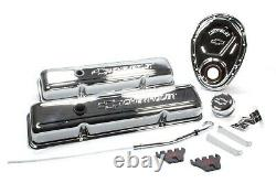 Proform 141-001 Engine Dress-Up Kit Chrome with Logo Fits Small Block Chevy