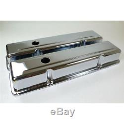 RPC Engine Valve Cover Set R9215 Tall Chrome Steel for Chevy 283-350 SBC