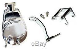 Return Sale Chevy Chrome Saginaw Power Steering Pump + SBC Chrome Bracket Kit
