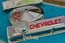 SBC 327-350 Tall Chrome CHEVROLET HP Valve covers withAir Cleaner-Show-Gasser