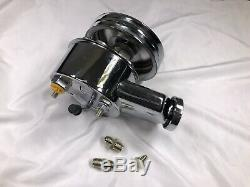 SBC BBC Chevy Chrome Saginaw Key way Style Power Steering Pump with2 Groove Pulley