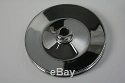 SBC BBC Chevy Chrome Saginaw Style Power Steering Pump with Single Groove Pulley