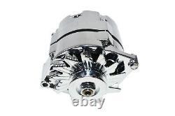 SBC BBC GM CHEVY Chrome 110 Amp Alternator with 1 Wire Setup 305 350 383 400 454