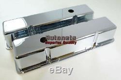 SBC Chevy 305 Chrome Cast Aluminum Valve Cover Tall Smooth 305 327 400 55-86