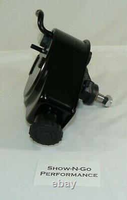 SBC Chevy Black Saginaw Style Power Steering Pump With Billet Bracket (LWP)