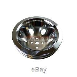 SBC Chevy Chrome Aluminum 2 Double Groove Short Water Pump Crankshaft Pulley Kit
