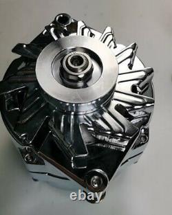 SBC Chevy Chrome Long Water Pump Power Steering Pump & Chrome Alternator 130W
