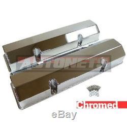 SBC Chevy Fabricated Chrome Aluminum Valve Cover 283 305 327 350 400 No-Hole