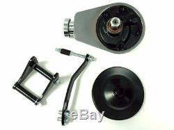 SBC Chevy SB Chrome Saginaw Power Steering Pump with Black Bracket & Pulley Kit