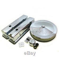 SBC Chrome 383 Logo Dress Up kit Valve Cover Air Cleaner Small Block Chevy Tall