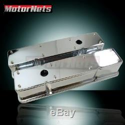 SBC Chrome SB Chevy 2-Piece Tall Valve Cover 283 327 350 383 400 Removable Top
