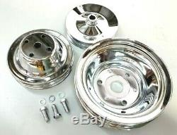 SBC Small Block Chevy 2 / 3 Groove Chrome Steel Long Water Pump Pulley Kit 350