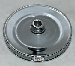 SBC Small Block Chevy 2 Groove Chrome Steel Long Water Pump Pulley Kit 305 350