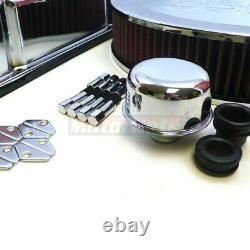 SBC Small Block Chevy Chrome 350 Logo Dress Up Kit Valve Cover Washable Air Clea