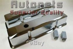 SBC Small Block Chevy Chrome Aluminum Valve cover Tall Recessed plain 305 350