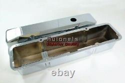SBC Small Block Chevy Chrome Cast Aluminum Valve cover Tall Ball-Mill 283- 350