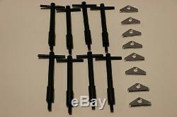 SB Chevy 4 Black Short T-Bar & Chrome Valve Cover Hold Down Kit SBC 350 Bolts