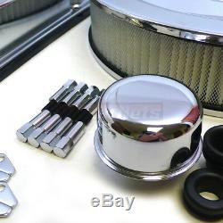 SB Chevy Chromed Steel 350 Stamped Logo Engine Dress Up Kit Short Valve Covers