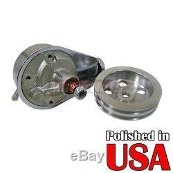 SB Chevy SBC BBC Big Block Chrome Saginaw Power Steering Pump With 2 Groove Pulley