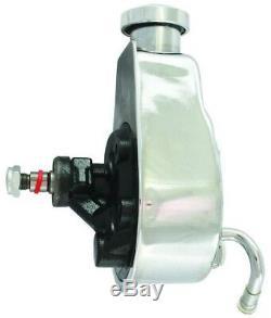 SB Chevy SBC Chrome Saginaw Power Steering Pump Kit With Bracket Pump & Pulley