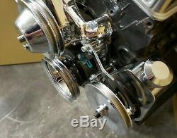 SB Chevy SBC Chrome Steel Long Pump Billet Pulley Kit With Brackets 327 350 400 V8