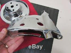 SB Chevy SBC Chrome Steel Pulley LOT With Brackets 327 350 400 V8