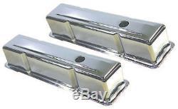 SB Chevy Short Chrome Valve Cover Kit / W Air Cleaner 283 350 1959 86 SBC