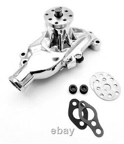 SB Chevy Water Pump Short SBC 283 327 350 383 High Volume Chrome Aluminum