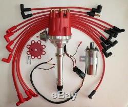 Small Block Chevy 350 Pro Series Hei Distributor +chrome Coil+plug Wires  Over VcSbc Chevy Chrome