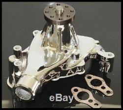 Sbc Chevy 305 350 Long Reverse Rotation Chrome Aluminum Water Pump Hc-8014-c