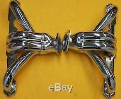Sbc Chevy Block Hugger Headers Chrome 350 Hot Rat Rod Small Block