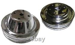Small Block Chevy 2 & 3 Groove Chrome Steel Water Pump Crank Pulley Long Pump