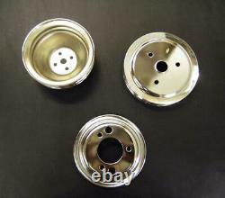 Small Block Chevy 2 & 3 Groove Short Water Pump Crankshaft chrome Pulley Set swp