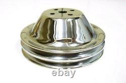 Small Block Chevy 2 Groove Chrome Upper Short Water Pump Pulley NO holes