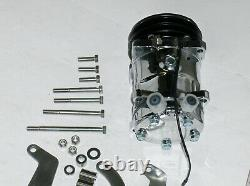 Small Block Chevy 508 Chrome A/C Air Conditioning Compressor & SS Bracket LWP DS