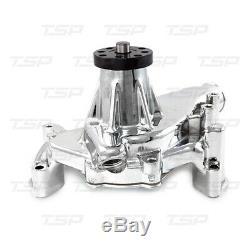 Small Block Chevy Aluminum Long Water Pump 350 400 Hi Flow CHROME Reverse Rotaio
