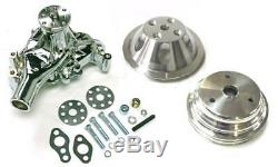 Small Block Chevy CHROME Long Water Pump + 1 / 2 Groove Crankshaft Pulley Kit