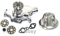 Small Block Chevy CHROME Short Aluminum Water Pump + 1 Single Groove Pulley Kit