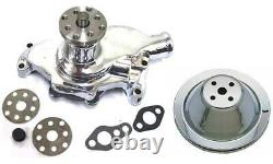 Small Block Chevy CHROME Short Aluminum Water Pump + 2 Groove Chrome Pulley Kit