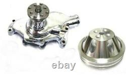Small Block Chevy CHROME Short Aluminum Water Pump + 2 Groove Pulley DISPLAY