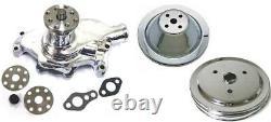 Small Block Chevy CHROME Short Water Pump & 1 / 2 Groove Crankshaft Pulley Kit