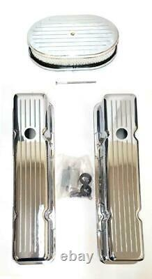 Small Block Chevy Chrome Aluminum Ball Milled Valve Covers + 12 Air Cleaner Kit