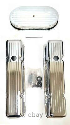Small Block Chevy Chrome Aluminum Ball Milled Valve Covers + 15 Air Cleaner Kit