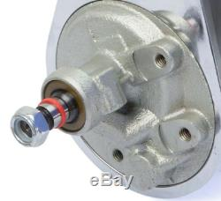 Small Block Chevy Chrome Saginaw Power Steering Pump + Keyway Pulley Bracket Kit