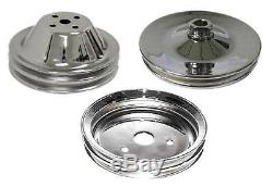 Small Block Chevy Double Groove Chrome Water Pump Power Steer Crankshaft Pulleys