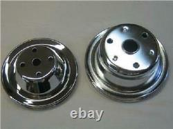 Small Block Chevy Long Water Pump Chrome 1 Groove Chrome Pulley Set SBC LWP