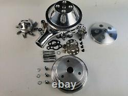 Small Block Chevy Long Water Pump Pulley Kit WithLong Water Pump Chrome