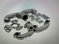 Small Block Chevy SBC 283 327 350 V8 Ram Horn Chrome Exhaust Manifold Headers