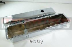 Small Block Chevy SBC Ball Milled Chrome Aluminum Recessed Valve Cover Tall